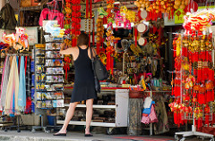 Woman shopping in Singapore