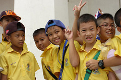 Young kids on a school outing in Thailand