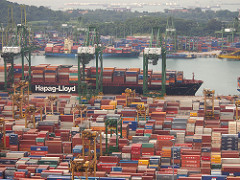 Shipped items at Singapore's harbour