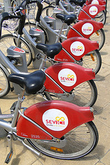 getting around seville by bike sharing program - Sevici