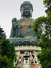 A statue of Buddha at a shrine in Hong Kong