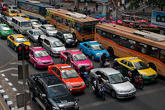 Taxis stuck in the traffic in Bangkok