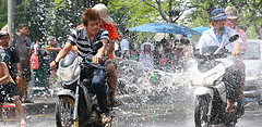 Thousands of Thais enjoy getting wet during the Songkran Festival in Bangkok