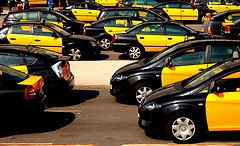 Black and yellow taxi cabs in Barcelona
