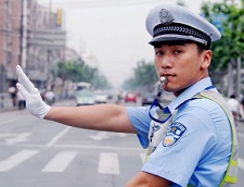 Traffic police in China help ensure public safety