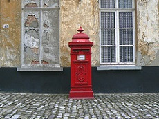 A bpost postbox for mail in Belgium