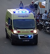 An ambulance takes a patient to a hospital in Brussels