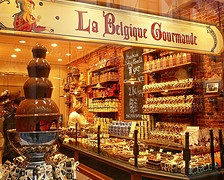 A famous Belgian chocolate shop in Brussels