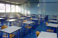 Empty classroom with blue colouring
