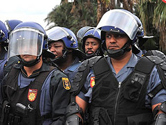 South African police at a public protest