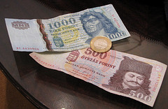 Currency in Hungary by Jeaneeem