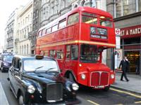 double decker bus and london taxi cab