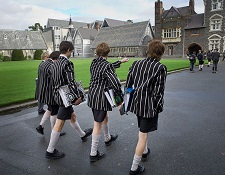 school children at christ's college in cantebury, new zealand