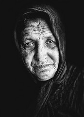 Old greek woman illustrating culture shock in Greece