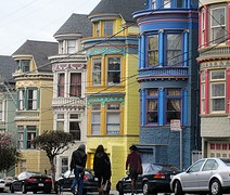 Colourful Victorian houses in San Francisco