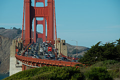Traffic in San Francisco, on the Golden Gate Bridge