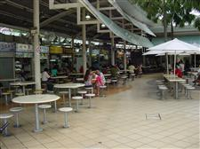 seating at a hawker center in Singapore