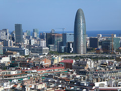 A view of the business district in Barcelona, Spain