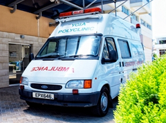 Private ambulance from Ygia Polyclinic in Cyprus