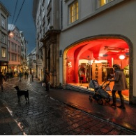 A cafe-lined street in Vienna