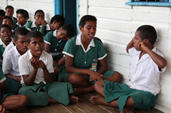 Students at a school in Fiji